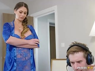 Sensuous female in blue, lacy undergarments, Cathy Heaven gave a blow-job to her finest mate