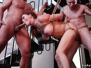 Hungs double-penetration fornicating huge jugs babe in bondage