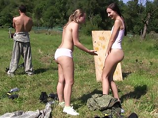 Outdoor FFm threesome with teen babes Lady Bug and Heather Harris