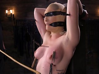 Submissive blonde cutie Lily Labeau tied up and pussy abused hardcore