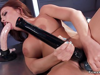 Busty Tits ginger sucking toy and fucks machine