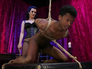 Domnant Cherry Torn pegs a black guy and rides his dick