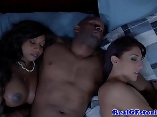interracial group sex with a horny black dude is all that these girls want