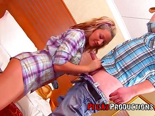 Horny country nympho Vanessa Gold is pounded doggy by lewd farmer