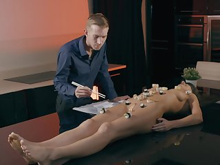 Instead of a dinner horny dude eats and fucks Tina Kay's shaved pussy