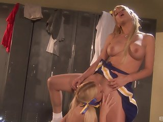 Sexy lesbians Angie Savage and Kara Mynor please their pussies