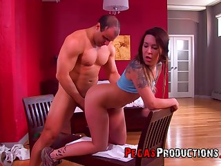 Slutty doll feels muscular man's endless cock fucking her so good