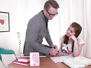 A student works on her seduction skills and she wants her tutor's cock