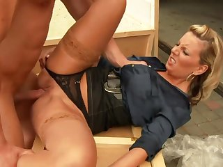 clothed intimacy: CFNM porn with MILF and her lover - cumshot
