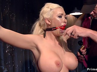 Huge fun bags blond hair lady in device bondage