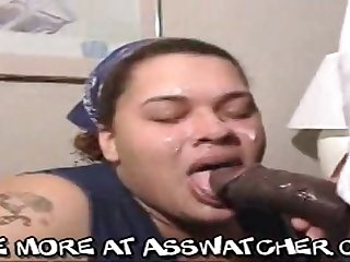 Fat ebony mom performs greedy deepthroat cock sucking