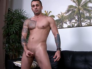 Buzzcut military stud solo jerking his shaft