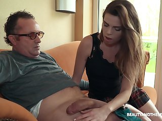 Sexy boss Sarah Smith fucks older men exclusively and she's so passionate