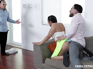 Latina cutie Lilly gets caught having sex with her stepbro by her stepdad