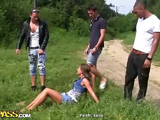 Naughty, suntanned stunner with puny cupcakes, Zaza La Coquine Louise had gang fuck-a-thon with insane mates