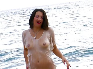 Hardcore pussy drilling by the sea with sexy Nathalie Sainlouis