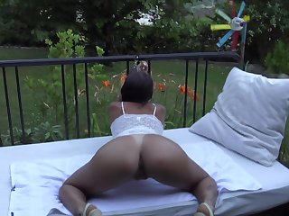 Tied up and Fucked in the Garden with Ass Cum while she's Reading about Danika Mori on Playboy (HD)