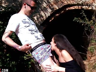 Samia Christal goes with a local boy for some outdoor naughty fun.