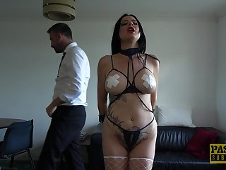 Slutty brunette wife Damaris tied up and fucked in all of her holes