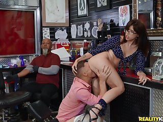 Fabulous Isabel Moon caught getting boned in the tattoo shop