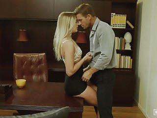 skinny babe Kenna James hot office sex