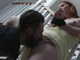 Redhead gets tied up and fucked by her step brother