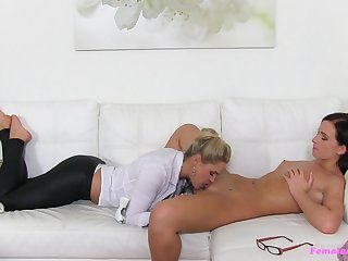 Aroused women use stiff strap-on during job interview