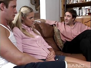 Double penetration threesome with skinny blonde Ashley Long