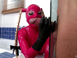Latex fantasy in the kitchen for a submissive whore