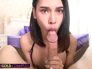 Tiny Asian Ladyboy Kitty Takes Huge Cock In Her Mouth And Her Tight Asshole