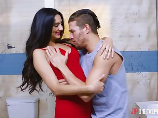 Beautiful babe with dimples Eliza Ibarra is fucked in a dirty public toilet