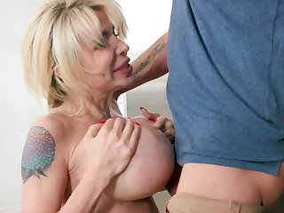 Perfect milf with big tits sucks her son like a meaningless whore