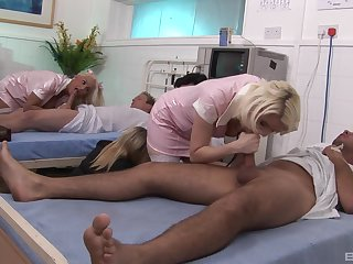 Nurse Amy Azurra and the brush colleague take nurse b like of their patients