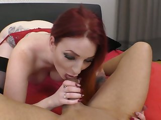 Curvaceous pale redhead Zara DuRose gives head right before topping dick