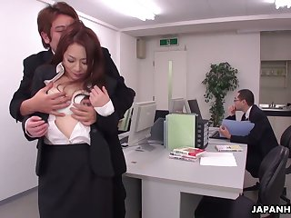 Obsessed with sex dudes fuck sexy secretary Yuri Kawana in the office