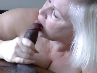 Hardcore blowjob and sexual intercourse of mature woman and black guy