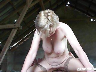 Hot blonde granny Sanny fucks her slaveboy GrandMams.com