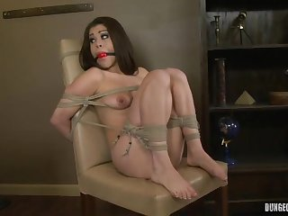 Tied Darkhaired Gets Screwed By Copulating Machine - ANALDIN