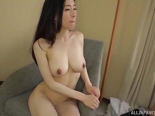 Japanese bombshell in a bra Ninomiya Waka bends over for a fuck