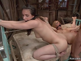 Savage hunter anal sex fucks two whores