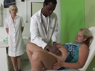 Nurse joins mature patient in sharing the black monster