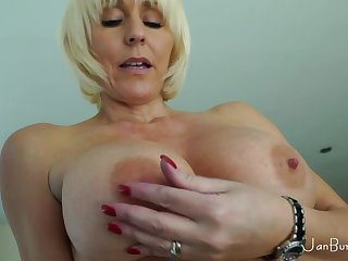 Horny granny with huge melons solo session