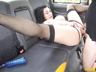 Taxi driver spreads Nicole DuPapillon's legs for his big penis
