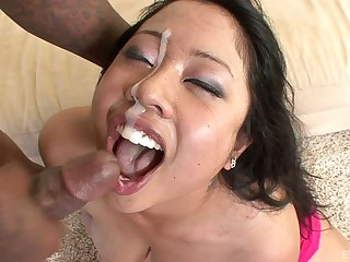 Asian woman jizzed on face after a rough interracial