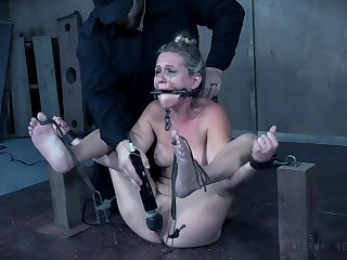 Submissive Sasha Heart enjoys sex games while she is tied and horny