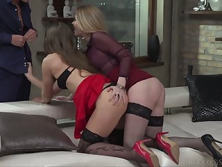 Smoking hot lesbian babes are fucked and jizzed by hot blooded dude