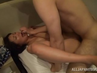 Sweet Japanese eats friend's hard cock before and after wild sex