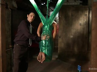 Slave girl London River gets tied up with nylon and enjoys it