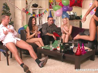 Horny cowgirls turn a party into a full swing orgy
