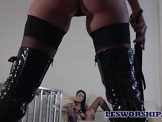 Hot mistress taking her time punishing her tattooed slave at home